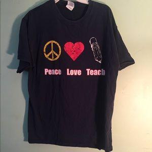 Peace Love Teach Navy Blue Large Unisex